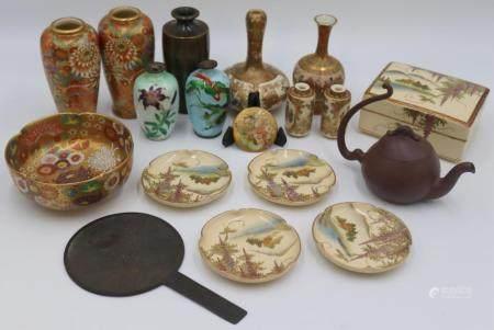 Japanese Satsuma, Enamel, and Bronze Cabinet Items