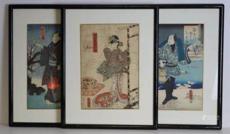 Grouping of (3) Signed Japanese Prints.