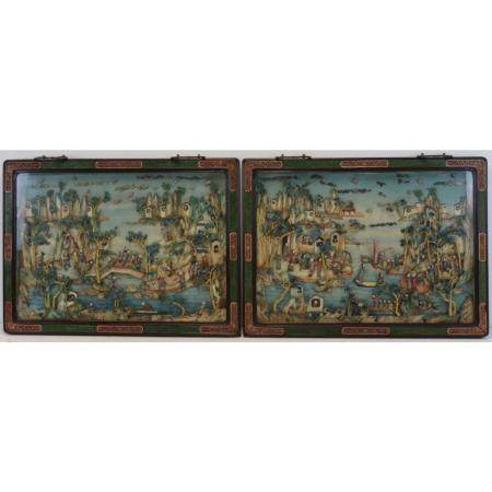 Pair of Framed Antique Chinese Dioramas.