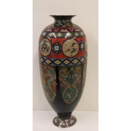 Vintage, Large And Fine Quality Champleve Vase.