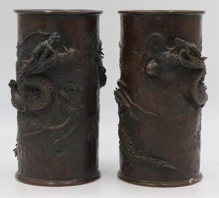 Pair of Japanese Meiji Bronze Cylindrical Vases.
