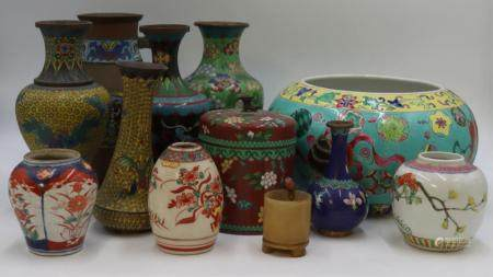 Assorted Group of Asian Porcelains and Cloisonne.