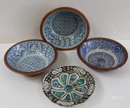 3 Antique Porcelain Blue And White Decorated