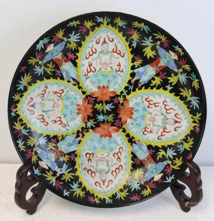 Enamel Decorated Chinese Porcelain Charger.