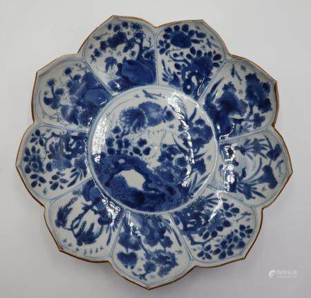 Chinese Blue and White Porcelain Lotus Dish.