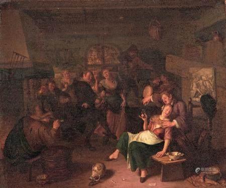 ÉCOLE HOLLANDAISE du XVIIIe siècle, dans le goût de Jan STEEN