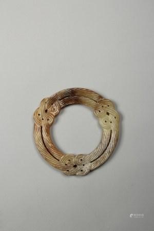 清 白玉绳纹环