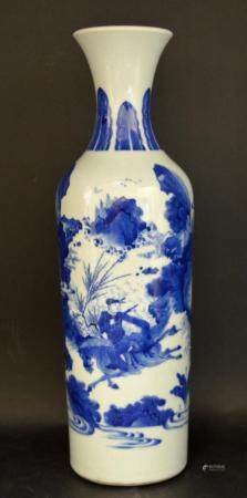 CHINESE BLUE & WHITE FLARED RIM WARRIOR'S VASE