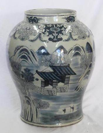 CHINESE LATE QING BLUE & WHITE FLOOR VASE