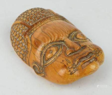 ANTIQUE THAI TIBETAN CARVED BONE BUDDHA PENDANT
