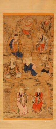 18th C CHINESE PAINTING ON RICE PAPER IN SCROLL