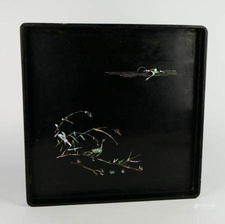 VINTAGE / ANTIQUE JAPANESE LACQUER MOP INLAY TRAY