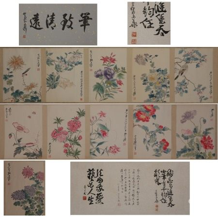 CHINESE PAINTING AND CALLIGRAPHY, FLOWERS, ZHANG DAQIAN MARK