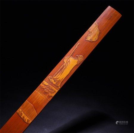 民国 竹雕苏武牧羊纹裁纸刀