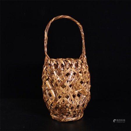 19世纪初 纯手工编织竹篮