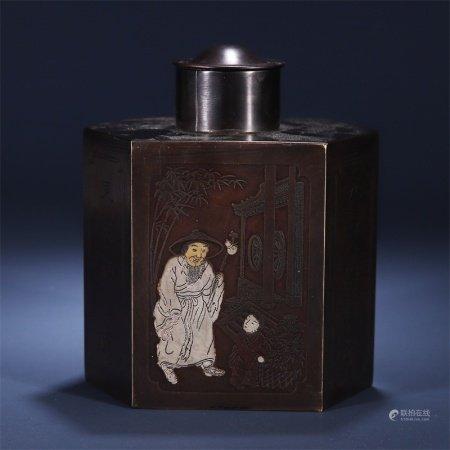 民国 人物故事纹茶叶罐