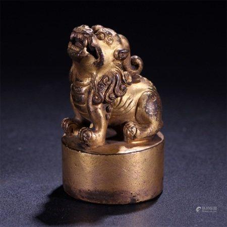 清代 铜鎏金狮钮八思巴文印