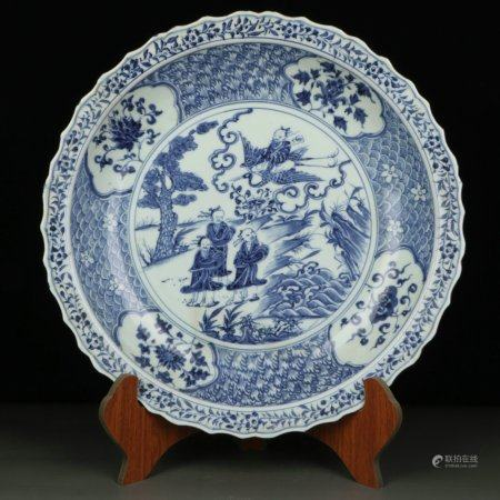 Chinese Blue And White Porcelain Plate With Pattern Of Figure Driving Crane