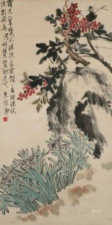 Chinese Painting Of Flowers By Wu Changshuo