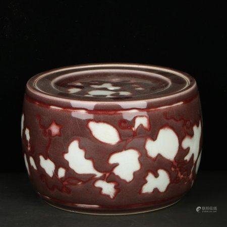 Chinese Red Glazed Porcelain Crickets Can