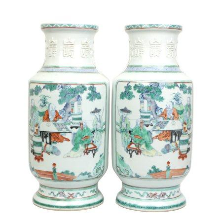 Chinese Pair Of Doucai Porcelain Bottles With Pattern Of Figures