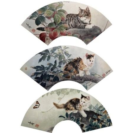 当代 米春茂 猫戏图