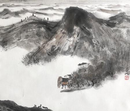 近现代 亚明 溪岸江南