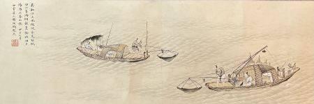 近现代 冯超然 渔钓