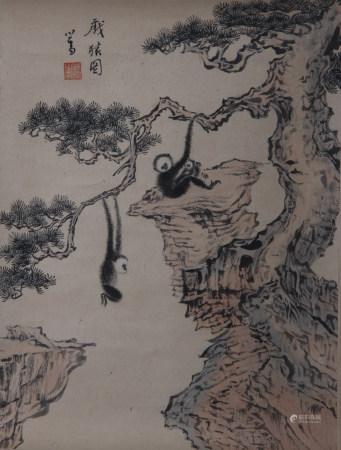 近现代 溥儒 猿戏图