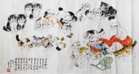 近现代 孙菊生 白猫图