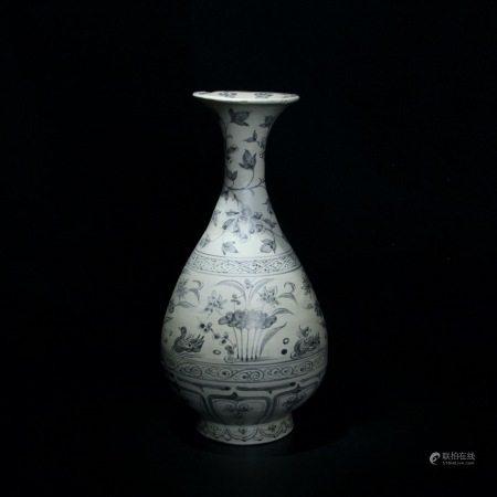 元 青花鸳鸯戏水纹玉壶春瓶