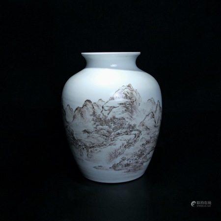 民国 浅绛彩山水纹罐
