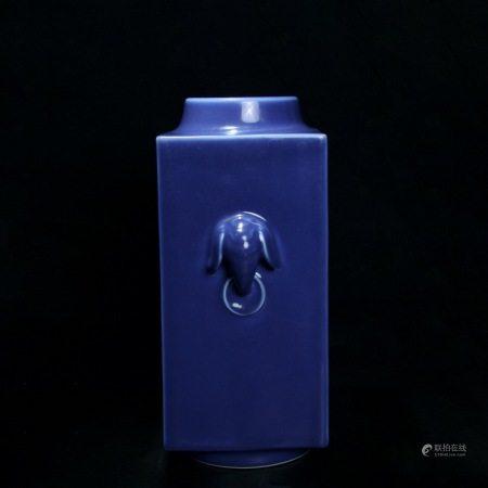 清道光 霁蓝釉象耳琮式瓶