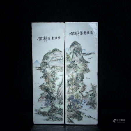 清晚期 浅绛彩山水纹瓷板二块