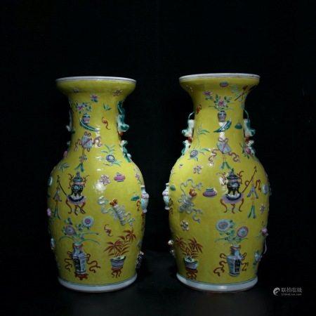 清同治 黄釉粉彩雕瓷博古纹兽耳瓶一对