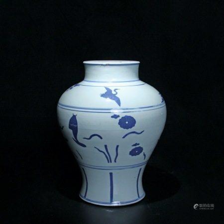 明万历 青花鱼藻纹罐