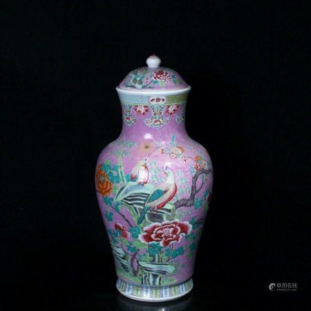 清光绪 胭脂水釉粉彩花鸟纹披肩盖瓶(乾隆年制款)