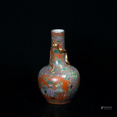 清光绪 珊瑚釉粉彩博古纹蟠龙天球瓶
