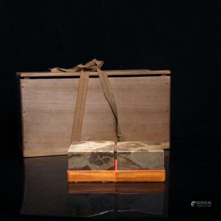 清 虚谷(1823~1896)寿山石印象一对