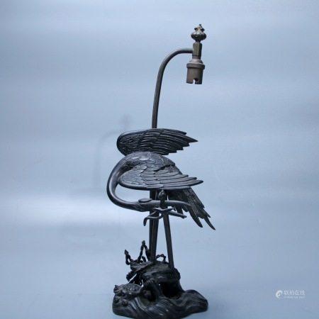 江户时代 铜錾花玄武纹灯台