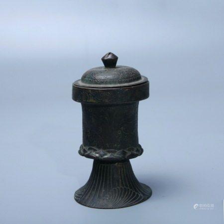 唐 铜錾花鎏金胡人盖瓶