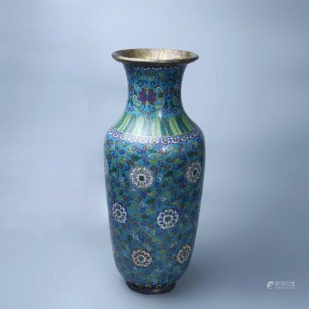 清乾隆 铜胎鎏金掐丝珐琅瓶