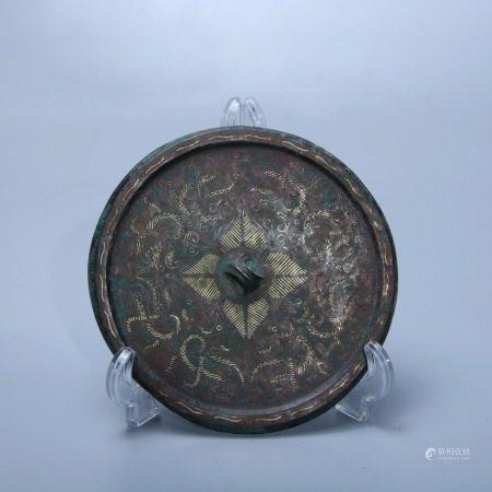 战国 锉金龙纹铜镜