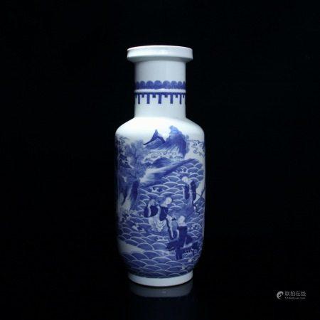 清 青花海神纹灯笼瓶