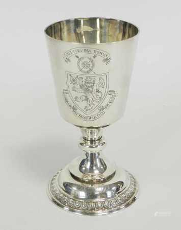 An engraved silver armorial goblet
