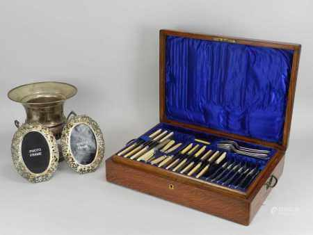 A cased part canteen of silver plated cutlery