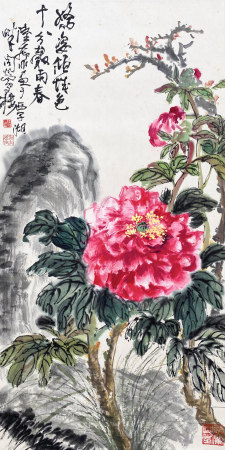 A CHINESE BIRD-AND-FLOWER HANGING SCROLL PAINTING LU YIFEI MARK