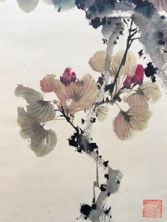 A CHINESE BIRD-AND-FLOWER HANGING SCROLL PAINTING ZHAO SHAO'ANG MARK