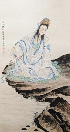 A CHINESE FIGURE HANGING SCROLL PAINTING MEI LANFANG MARK