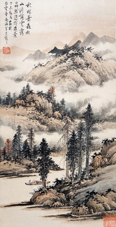 A CHINESE LANDSCAPE HANGING SCROLL PAINTING HUANG JUNBI MARK